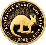 Australia 25 Dollars Kangaroo in bush 2005 KM# 912 THE AUSTRALIAN NUGGET 1/4 OZ. 9999 GOLD 2005 coin reverse