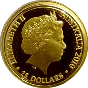 Australia 25 Dollars Kangaroo in outback 2010 Proof KM# 1508 ELIZABETH II AUSTRALIA 2010 IRB • 25 DOLLARS • coin obverse