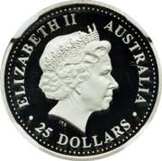 Australia 25 Dollars Koala up a gum tree 2002 Proof KM# 923 ELIZABETH II AUSTRALIA 25 DOLLARS coin obverse