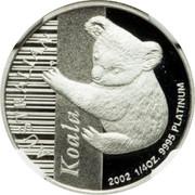 Australia 25 Dollars Koala up a gum tree 2002 Proof KM# 923 KOALA 2002 1/4OZ. 9995 PLATINUM coin reverse