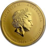 Australia 25 Dollars Lunar Rooster 2017 ELIZABETH II AUSTRALIA 1/4 OZ 9999 GOLD 2017 25 DOLLARS IRB coin obverse