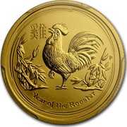 Australia 25 Dollars Lunar Rooster 2017 YEAR OF THE ROOSTER P coin reverse