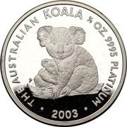 Australia 25 Dollars Mother and baby koala 2003 Proof KM# 927 THE AUSTRALIAN KOALA 1/4 OZ. 9995 PLATINUM P JR 2003 coin reverse