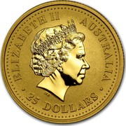 Australia 25 Dollars Snake on a branch 2001 KM# 541 ELIZABETH II AUSTRALIA 25 DOLLARS IRB coin obverse