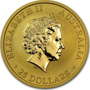 Australia 25 Dollars Standing Kangaroo 2012 KM# 1684 ELIZABETH II AUSTRALIA 25 DOLLARS IRB coin obverse