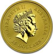 Australia 25 Dollars Standing Rooster 2005 KM# 795 ELIZABETH II AUSTRALIA 25 DOLLARS coin obverse