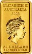 Australia 25 Dollars Turtle Dreaming 2009 Proof KM# 1106 ELIZABETH II AUSTRALIA 2008 25 DOLLARS 10G 9999 GOLD IRB coin obverse