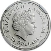 Australia 25 Dollars Two koalas on branch 2001 Proof KM# 918 ELIZABETH II AUSTRALIA 25 DOLLARS coin obverse