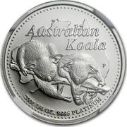 Australia 25 Dollars Two koalas on branch 2001 Proof KM# 918 AUSTRALIAN KOALA P 2001 1/4 OZ. 9995 PLATINUM coin reverse