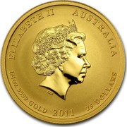 Australia 25 Dollars Year of the Rabbit 2011 KM# 1483 ELIZABETH II AUSTRALIA 1/4 OZ 9999 GOLD 2011 25 DOLLARS IRB coin obverse