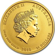 Australia 25 Dollars Year of the Tiger 2010 KM# 1322 ELIZABETH II AUSTRALIA 1/4 OZ 9999 GOLD 2010 25 DOLLARS IRB coin obverse