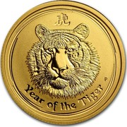 Australia 25 Dollars Year of the Tiger 2010 KM# 1322 YEAR OF THE TIGER P coin reverse