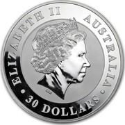 Australia 30 Dollars Australian Kookaburra 2010 KM# 1361 ELIZABETH II AUSTRALIA 30 DOLLARS IRB coin obverse