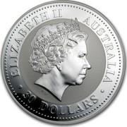Australia 30 Dollars Horse Running Left 2002 KM# 586 ELIZABETH II AUSTRALIA 30 DOLLARS coin obverse