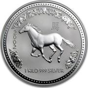 Australia 30 Dollars Horse Running Left 2002 KM# 586 2002 1 KILO 999 SILVER coin reverse