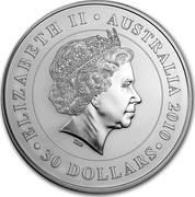 Australia 30 Dollars Koala on branch 2010 KM# 1466 ELIZABETH II AUSTRALIA 2010 30 DOLLARS IRB coin obverse