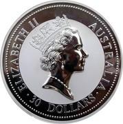 Australia 30 Dollars Kookaburra 2002 KM# 680 ELIZABETH II AUSTRALIA 30 DOLLARS coin obverse