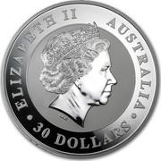 Australia 30 Dollars Kookaburra on a branch 2012 KM# 1694 ELIZABETH II AUSTRALIA 30 DOLLARS IRB coin obverse