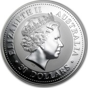 Australia 30 Dollars Kookaburra with sunburst on a background 2009 KM# 1115 ELIZABETH II AUSTRALIA 30 DOLLARS IRB coin obverse