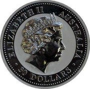 Australia 30 Dollars Lunar Goats 2003 KM# 681 ELIZABETH II AUSTRALIA 30 DOLLARS coin obverse