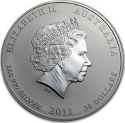 Australia 30 Dollars Lunar Year of the Rabbit 2011 KM# 1479 ELIZABETH II AUSTRALIA 1 KG 999 SILVER 2011 30 DOLLARS IRB coin obverse