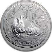 Australia 30 Dollars Lunar Year of the Rabbit 2011 KM# 1479 YEAR OF THE RABBIT P coin reverse