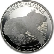 Australia 30 Dollars Sleeping Koala 2012 KM# 1842 AUSTRALIAN KOALA 2012 1 KILO 999 SILVER P coin reverse