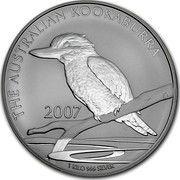 Australia 30 Dollars The Australian Kookaburra 2007 KM# 892 THE AUSTRALIAN KOOKABURRA 1 KILO 99 SILVER 2007 JG coin reverse