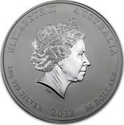 Australia 30 Dollars Year of the Dragon 2012 KM# 1668 ELIZABETH II AUSTRALIA 1 KG 999 SILVER 2012 30 DOLLARS IRB coin obverse
