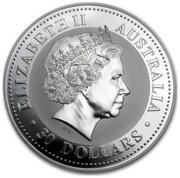 Australia 30 Dollars Year of the Snake 2001 KM# 542 ELIZABETH II AUSTRALIA 30 DOLLARS coin obverse