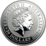 Australia 30 Dollars Year of the Tiger 2007 ELIZABETH II AUSTRALIA 30 DOLLARS 2007 IRB coin obverse