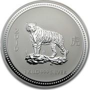 Australia 30 Dollars Year of the Tiger 2007 2010 1 KILO 999 SILVER SA coin reverse