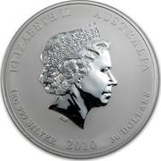 Australia 30 Dollars Year of the Tiger 2010 KM# 1374 ELIZABETH II AUSTRALIA 1 KG 999 SILVER 2010 30 DOLLARS IRB coin obverse