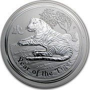Australia 30 Dollars Year of the Tiger 2010 KM# 1374 YEAR OF THE TIGER P coin reverse