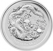 Australia 300 Dollars Year of the Dragon 2012 KM# 1669 YEAR OF THE DRAGON P coin reverse