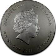 Australia 300 Dollars Year of the Rabbit 2011 KM# 1480 ELIZABETH II AUSTRALIA 10 KILO 999 SILVER 2011 300 DOLLARS coin obverse