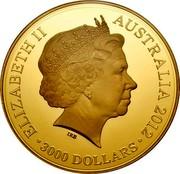 Australia 3000 Dollars Lunar Dragon 2012 KM# 1678a ELIZABETH II AUSTRALIA 2012 3000 DOLLARS coin obverse