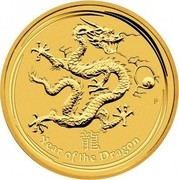Australia 3000 Dollars Year of the Dragon 2012 KM# 1677 YEAR OF THE DRAGON P coin reverse