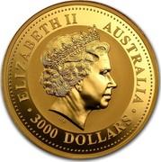 Australia 3000 Dollars Year of the Goat 2003 KM# 716 ELIZABETH II AUSTRALIA 3000 DOLLARS IRB coin obverse
