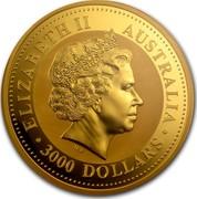 Australia 3000 Dollars Year of the Horse 2002 KM# 709 ELIZABETH II AUSTRALIA 3000 DOLLARS IRB coin obverse