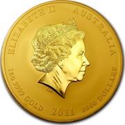 Australia 3000 Dollars Year of the Rabbit 2011 KM# 1488 ELIZABETH II AUSTRALIA 1 KG 9999 GOLD 2011 3000 DOLLARS coin obverse