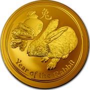 Australia 3000 Dollars Year of the Rabbit 2011 KM# 1488 YEAR OF THE RABBIT P coin reverse