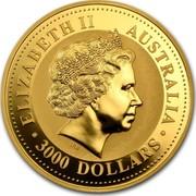 Australia 3000 Dollars Year of the Snake 2001 KM# 706 ELIZABETH II AUSTRALIA 3000 DOLLARS IRB coin obverse