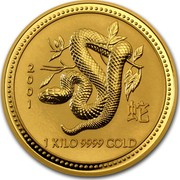 Australia 3000 Dollars Year of the Snake 2001 KM# 706 2001 1 KILO 9999 GOLD coin reverse