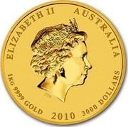 Australia 3000 Dollars Year of the Tiger 2010 P KM# 1379 ELIZABETH II AUSTRALIA 1 KG 9999 GOLD 2010 3000 DOLLARS IRB coin obverse