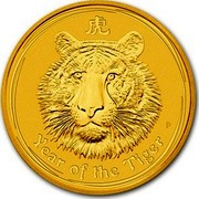Australia 3000 Dollars Year of the Tiger 2010 P KM# 1379 YEAR OF THE TIGER P coin reverse