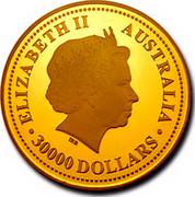 Australia 30000 Dollars Year of the Dog 10 kilo 2006 Proof KM# 1007 ELIZABETH II - AUSTRALIA 30000 DOLLARS coin obverse