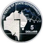 Australia 5 Dollars 150 Years of State Government 2007 KM# 1046 150 YEARS OF STATE GOVERNMENT 5 DOLLARS coin reverse