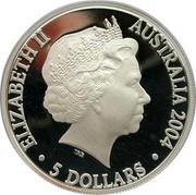Australia 5 Dollars 150 Years of Steam Reilways in Australia 2004 KM# 730 ELIZABETH II AUSTRALIA 2004 5 DOLLARS IRB coin obverse