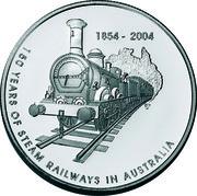 Australia 5 Dollars 150 Years of Steam Reilways in Australia 2004 KM# 730 1854-2004 150 YEARS OF STEAM RAILWAYS IN AUSTRALIA coin reverse